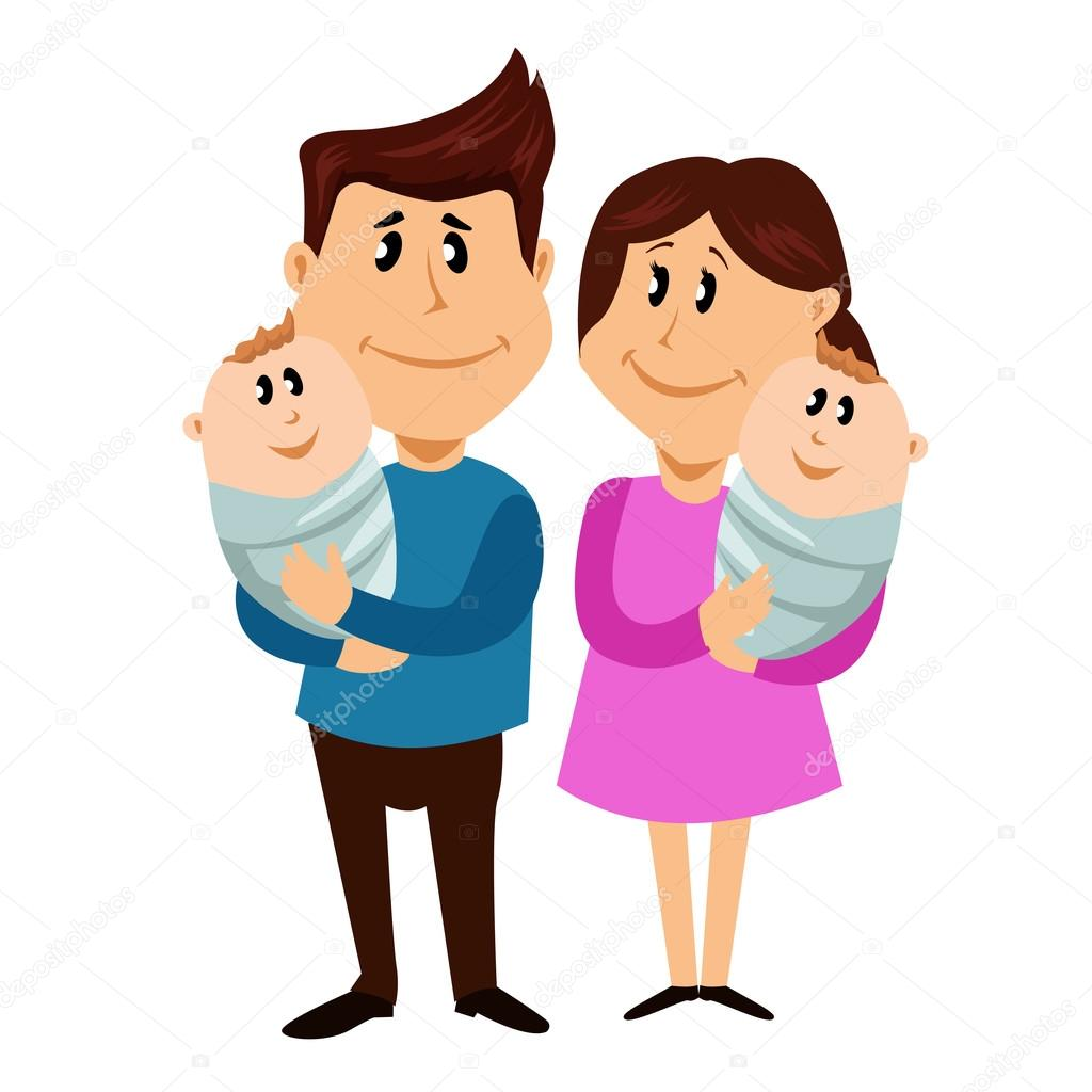 Famiglia felice con i gemelli appena nati illustrazione