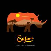 Safari. Silhouette of rhinoceros African landscape. — Stock Vector
