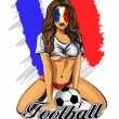French soccer fan girl. Vector illustration. — Stock Vector #61239979