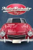 Auto repair shop retro poster. — Stock Vector