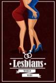 Female legs. Pair of two lesbians, vector illustration. — Stock Vector