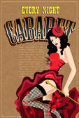 Cabaret dancer in a red dress. Retro vector poster — Stock Vector
