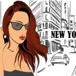 Illustration of a  woman  on the street New York city — Stock Vector #70904829