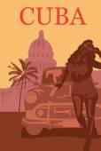Welcome to Cuba retro poster. — Stock Vector