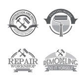 Home repair panting service  design labels set with black tools icons isolated  vector illustration — Stock Vector