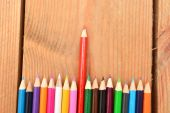 Colored pencils on wood — Stock Photo