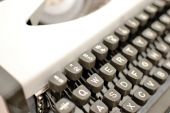 Typewriter on wood — Stock Photo