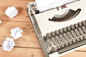Typewriter on wood — Stock Photo