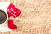 Coffee and Christmas heart — Stock Photo