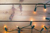 Vánoční světla na dřevo — Stock fotografie