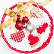 Basket with Christmas decorative objects — Stock Photo #57724109