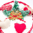 Red basket with Christmas decorative objects — Stock Photo #57819431