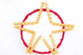Christmas star made with rolls — Stockfoto
