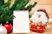 Christmas object and notebook — Stock Photo