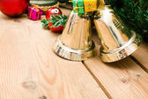 Christmas bell and christmas decoration — Photo