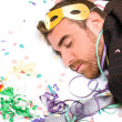 Young man sleeping after a party — Stock Photo #59100329