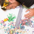 Young man sleeping after a party — Stock Photo #59452875