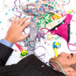 Young man sleeping after a party — Stock Photo #59454445