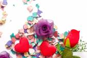 Flowers, hearts and confetti — Stock Photo
