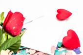 Note Valentine and rose — Stock Photo