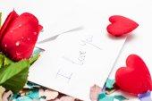 Note Valentine and rose — Φωτογραφία Αρχείου