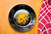 Paella on wood table — Stock Photo