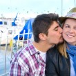 Young woman and young man on a marina — Stock Photo #63370791