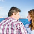 Young woman and young man on a marina — Stock Photo #63399441