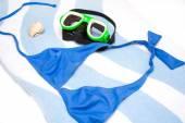 Guscio, bikini e occhiali snorkel — Foto Stock