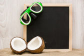 Snorkel in blackboard and coconut — Stockfoto