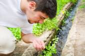 Man drinking water from the stream — Stock Photo