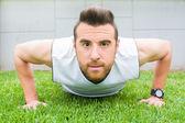 Man exercising in the park — Stok fotoğraf