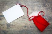 Boże Narodzenie worek z białe karty — Zdjęcie stockowe