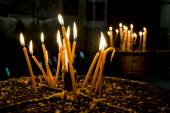 Candles in the Church of the Nativity Bethlehem — Stockfoto