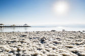 Salt crystals on the shores of the dead sea at dawn, Israel — Stock Photo