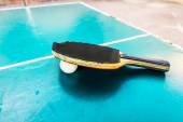 Black Racquet and ball tables tennis balls  — Foto de Stock