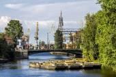 Cranes in the  cargo port of Saint-Petersburg on the Admiralty s — Foto de Stock