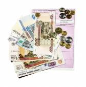 Invoice for payment with banknotes and coins  — Stock Photo