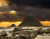 Pyramids at Giza on the background of the Sunset,Cairo, Egypt — Stock Photo