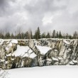 Harsh northern Misty landscape. Ruskeala marble quarries in Kare — Stock Photo #69255981