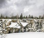 Harsh northern Misty landscape. Ruskeala marble quarries in Kare — Stock Photo