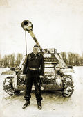 Russia St. Petersburg. January 25, 2015.Wehrmacht tankman. styli — Stock Photo