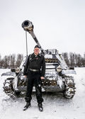 Russia St. Petersburg. January 25, 2015.Wehrmacht tankman posing — Stock Photo