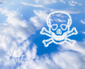 Blue Sky with a skull and bones in the clouds — Stock Photo