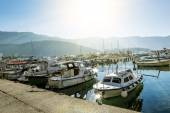 Seaport and yachts in the old town of Budva at sunrise, Monteneg — Stock Photo