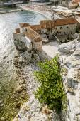 View from the ramparts of the beach and the old town of Budva — Stock Photo