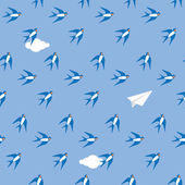 Swallows in  sky pattern — Stock Vector