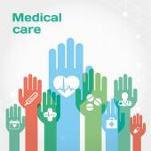 Medical care flat icon composition with hands — Stock Vector