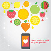 Your healthy food in you phone. Fruits. — Stock Vector