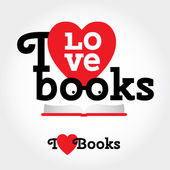 Sign with books and hearts about love to read. — Vetorial Stock